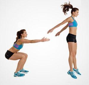 3.Bài tập Squat bật nhảy - bài tập thể dục giảm cân cấp tốc