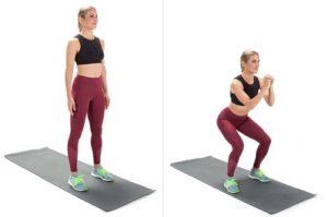 1.Tập thể dục giảm cân tại nhà cho nữ với bài tập Squat cơ bản