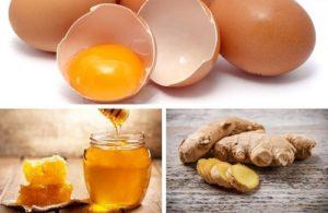 Cách 3: Dùng kết hợp mật ong, trứng và gừng