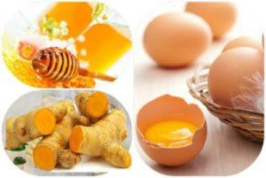 Cách 2: Dùng kết hợp mật ong, trứng và nghệ